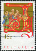 AUSTRALIA - CIRCA 1993: Postage stamp printed in Australia, Christmas Issue, shows angels with trumpets, circa 1993 — Stock Photo