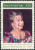 AUSTRALIA - CIRCA 1991: Postage stamp printed in Australia, dedicated to the 65th anniversary of the birth Queen Elizabeth II, circa 1991 — Stock Photo