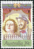 AUSTRALIA - CIRCA 1989: Postage stamp printed in Australia, Stars of Stage and Screen, shown Performers and directors: Gladys Moncrieff and Roy Rene, circa 1989 — Stock Photo