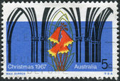 AUSTRALIA - CIRCA 1967: Postage stamp printed in Australia, Christmas Issue, shows Gothic Arches and Christmas Bell Flower, circa 1967 — Stock Photo