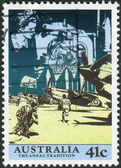 AUSTRALIA - CIRCA 1990: Postage stamp printed in Australia, shows scenes from WW II: Anzacs at the front. Women working in factories, aircraft at the ready, circa 1990 — Stock Photo