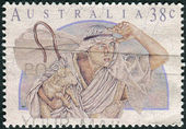 AUSTRALIA - CIRCA 1991: Postage stamp printed in Australia, Christmas Issue, shows Shepherd, circa 1991 — Stock Photo