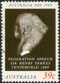AUSTRALIA - CIRCA 1989: Postage stamp printed in Australia shows an Advocate of the Federation of the Six Colonies, Sir Henry Parkes, circa 1989 — Stock Photo