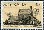 AUSTRALIA - CIRCA 1984: Postage stamp printed in Australia, dedicated to the Day of Australia, shows Captain Cook's Cottage, Melbourne, circa 1984 — Stock Photo