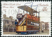 AUSTRALIA - CIRCA 1989: Postage stamp printed in Australia shows Hobart Double-deck electric tram (1893), circa 1989 — Stock Photo