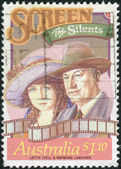 AUSTRALIA - CIRCA 1989: Postage stamp printed in Australia, Stars of Stage and Screen, shows Lottie Lyell and Raymond Longford, silent films, circa 1989 — Stock Photo