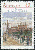 AUSTRALIA - CIRCA 1990: Postage stamp printed in Australia, dedicated to the 150th anniversary of the Local Government in Australia, shows the Town Hall, Adelaide, circa 1990 — Stock Photo