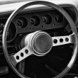 ������, ������: PAAREN IM GLIEN GERMANY MAY 19: Cab of pony car Dodge Challenger 1974 black and white The oldtimer show in MAFZ May 19 2013 in Paaren im Glien Germany