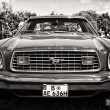 PAAREN IM GLIEN, GERMANY - MAY 19: Pony car Ford Mustang (second generation), black and white, The oldtimer show in MAFZ, May 19, 2013 in Paaren im Glien, Germany — Stock Photo