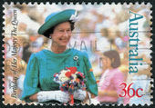 AUSTRALIA - CIRCA 1987: Postage stamp printed in Australia, dedicated to 61-th anniversary of the birth Queen Elizabeth II, circa 1987 — Stock Photo