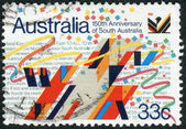 AUSTRALIA - CIRCA 1986: Postage stamp printed in Australia, dedicated to the 150th anniversary of South Australia, shows City Sign Sculpture by O.H. Hajek, circa 1986 — Stock Photo