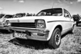 PAAREN IM GLIEN, GERMANY - MAY 19: Small family car Opel Kadett C Coupe, black and white, The oldtimer show in MAFZ, May 19, 2013 in Paaren im Glien, Germany — Stock Photo