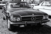 PAAREN IM GLIEN, GERMANY - MAY 19: The two-door coupe Mercedes-Benz C107 (560SL), black and white, US version, The oldtimer show in MAFZ, May 19, 2013 in Paaren im Glien, Germany — Stock Photo