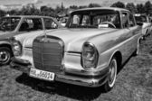 PAAREN IM GLIEN, GERMANY - MAY 19: Full-size luxury car Mercedes-Benz 230S (W111), black and white, The oldtimer show in MAFZ, May 19, 2013 in Paaren im Glien, Germany — Stock Photo