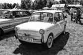 PAAREN IM GLIEN, GERMANY - MAY 19: Supermini Autobianchi Bianchina Panoramica (station wagon), black and white, The oldtimer show in MAFZ, May 19, 2013 in Paaren im Glien, Germany — Stock Photo