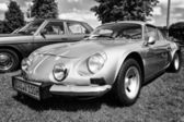 "PAAREN IM GLIEN, GERMANY - MAY 19: French sports car Alpine A110, also known as the ""Berlinette"", black and white, The oldtimer show in MAFZ, May 19, 2013 in Paaren im Glien, Germany — Stock Photo"