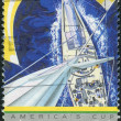 Stock Photo: AUSTRALI- CIRC1987: Postage stamp printed in Australia, is dedicated to America's Cup Yacht Racing, circ1987