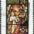 AUSTRALIA - CIRCA 1984: Postage stamp printed in Australia, Christmas Issue, shows Stained glass windows, Angel and Child, circa 1984 — Stock Photo