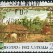 AUSTRALIA - CIRCA 1982: Postage stamp printed in Australia, Christmas Issue, shows Early Australian Christmas card, circa 1982 — Stock Photo #40707653