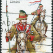 AUSTRALI- CIRC1985: Postage stamp printed in Australishows Colonial military uniforms: New South Wales Lancers, circ1985 — Stock Photo #40709031