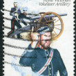 AUSTRALI- CIRC1985: Postage stamp printed in Australishows Colonial military uniforms: Royal VictoriVolunteer Artillery, circ1985 — Stock Photo #40709637
