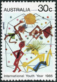 "AUSTRALIA - CIRCA 1985: Postage stamp printed in Australia, dedicated to International Youth Year, shows picture ""Youth"" by Derryn Vogelnest, circa 1985 — Stock Photo"