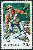 AUSTRALIA - CIRCA 1979: Postage stamp printed in Australia, dedicated to Sport fishing, shows Trout Fishing, circa 1979 — Stock Photo