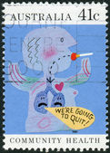AUSTRALIA - CIRCA 1990: Postage stamp printed in Australia, Community health, shows a child's drawing, Quit smoking, circa 1990 — Stock Photo