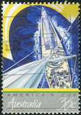 AUSTRALIA - CIRCA 1987: Postage stamp printed in Australia, is dedicated to America's Cup Yacht Racing, circa 1987 — Stock Photo