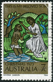 AUSTRALIA - CIRCA 1973: Postage stamp printed in Australia, Christmas Issue, shows the Baptism of Christ, circa 1973 — Stock Photo