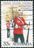 AUSTRALIA - CIRCA 1985: Postage stamp printed in Australia shows the Colonial military uniforms: New South Wales Contingent to the Sudan, circa 1985 — Stock Photo