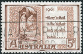 AUSTRALIA - CIRCA 1961: Postage stamp printed in Australia, Christmas Issue, shows a Page from Book of Hours, 15th Century, circa 1961 — Stock Photo