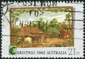 AUSTRALIA - CIRCA 1982: Postage stamp printed in Australia, Christmas Issue, shows Early Australian Christmas card, circa 1982 — Stock Photo