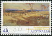 AUSTRALIA - CIRCA 1989: Postage stamp printed in Australia shows paintings by Australian artists: Impression for Golden Summer, by Sir Arthur Streeton, circa 1989 — Stock Photo