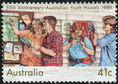 AUSTRALIA - CIRCA 1989: Postage stamp printed in Australia, dedicated to the 50th anniversary of Australian Youth Hostels, circa 1989 — Stock Photo