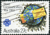 AUSTRALIA - CIRCA 1983: Postage stamp printed in Australia, dedicated to World Communications Year, shows Emblem, circa 1983 — Stock Photo