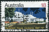 AUSTRALIA - CIRCA 1977: Postage stamp printed in Australia, dedicated to the 50th anniversary of Parliament House, Canberra, circa 1977 — Stock Photo
