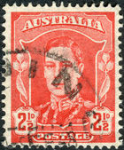 AUSTRALIA - CIRCA 1942: Postage stamp printed in Australia shows King George VI, circa 1942 — Stock Photo