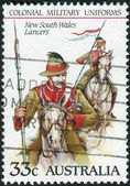 AUSTRALIA - CIRCA 1985: Postage stamp printed in Australia shows the Colonial military uniforms: New South Wales Lancers, circa 1985 — Stock Photo