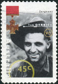 AUSTRALIA - CIRCA 1995: Postage stamp printed in Australia shows Famous Australians from World War II, Sergeant Tom Derrick, circa 1995 — Stock Photo