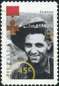 AUSTRALIA - CIRCA 1995: Postage stamp printed in Australia shows Famous Australians from World War II, Sergeant Tom Derrick, circa 1995 — Stock Photo