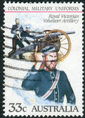 AUSTRALIA - CIRCA 1985: Postage stamp printed in Australia shows the Colonial military uniforms: Royal Victorian Volunteer Artillery, circa 1985 — Stock Photo
