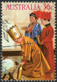 AUSTRALIA - CIRCA 1986: Postage stamp printed in Australia, Christmas Issue, shown Kindergarten nativity play: Three Kings, circa 1986 — Stock Photo