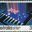 Stock Photo: AUSTRALI- CIRC1987: Postage stamp printed in Australia, is dedicated to AustraliDay, shows Flag, circuit board, circ1987