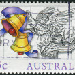 AUSTRALIA - CIRCA 1985: Postage stamp printed in Australia, Christmas Issue, shows Illustrations by Scott Hartshorne, Angel with bells, circa 1985 — Stock Photo #40711627