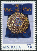 AUSTRALIA - CIRCA 1985: Postage stamp printed in Australia, dedicated to 59th Birthday Queen Elizabeth II, shows the Queen's Badge, Order of Australia, circa 1985 — Stock Photo