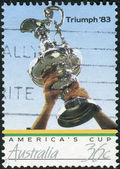 AUSTRALIA - CIRCA 1986: Postage stamp printed in Australia, is dedicated to America's Cup Triumph '83, shows Trophy, circa 1986 — Stock Photo