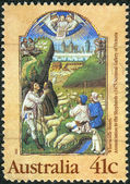 AUSTRALIA - CIRCA 1989: Postage stamp printed in Australia, Christmas Issue, shows Illuminations: Annunciation to the Shepherds from the Wharncliffe Hours, c. 1475, circa 1989 — Stock Photo