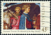 AUSTRALIA - CIRCA 1994: Postage stamp printed in Australia, Christmas Issue, shows Details from Adoration of the Magi by Giovanni Toscani, circa 1994 — Stock Photo