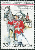 AUSTRALIA - CIRCA 1985: Postage stamp printed in Australia shows the Colonial military uniforms: Western Australian Pinjarrah Cavalry, circa 1985 — Stock Photo